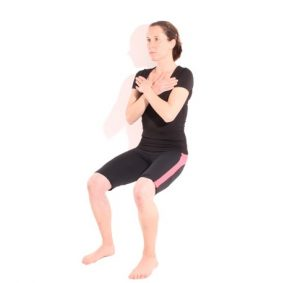wall sit pre-skiing exercise